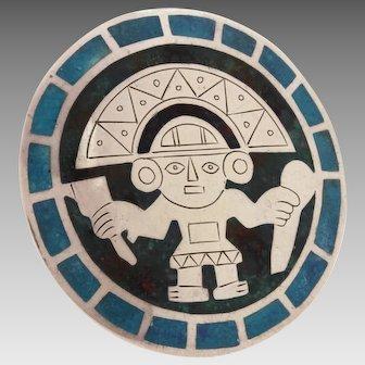 "Graziella Laffi Peru Sterling Enamel Large Pin 2.8"", Inca Indian"
