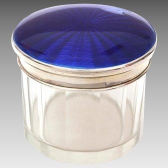 1927 Sterling Blue Guilloche Enamel Dresser Jar, Albert Carter Birmingham, CHIPPED