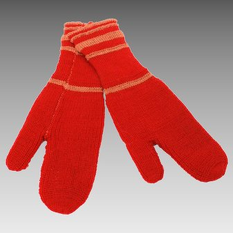 """Little Red Wool Mittens, Hand Knit, Doll or Child Size, Christmas Ornament Display, 6.25"""" Long x 1.8"""" Wrist"""