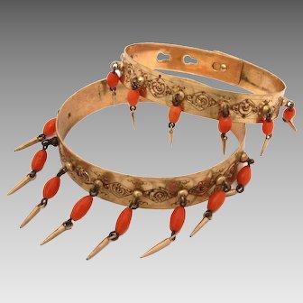 Antique Victorian Bracelet Pair, Coral Beads & Tear Drop Dangles, Adjustable Clasp
