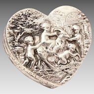 Antique Sterling Heart Box, Repousse Cherubs Playing with Goat, Silver Germany