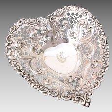 Large Gorham Sterling Heart Dish #966, Footed Trinket or BonBon Bowl, Silver Valentine, Engraved Initial C