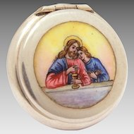 Antique Sterling Enamel Catholic Pyx with Portrait of Jesus Christ & Holy Mother Mary, Communion Eucharist