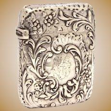Antique Sterling Vesta, Ornate Baroque Design, Victorian Match Safe