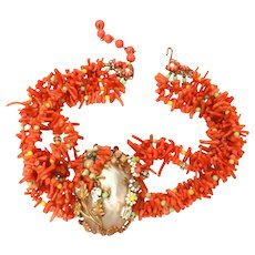 Genuine Branch Coral & Shell Choker Necklace, Unsigned Miriam Haskell