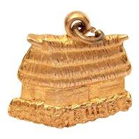 Fiji Hut Charm 9k Gold, Fijian Bure Wood Straw Hut 9ct Gold, Travel Souvenir