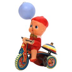 Tin Litho Wind Up Tricycle by Suzuki of Japan, Plastic Rider with Balloon, AS IS CONDITION