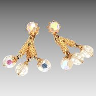 Vendome Clip Earrings with AB Glass Beads, Dangle Chandelier