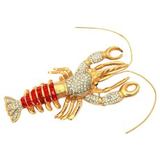 """Huge Rhinestone Lobster Pin with Red Square Glass & Clear Pave Stones, Large 4"""" x 4"""" Brooch"""