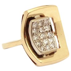 MCM 14k Gold & Diamond Ring, Mid Century Designer Signed, Size 5