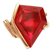 18k Ruby Ring Size 9 1/2, Pentagon Man Made Stone