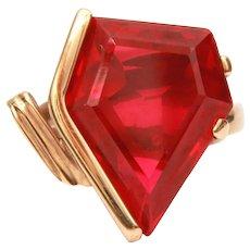 18k Ruby Ring Size 9 1/2, Pentagon Man Made Stone