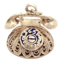 Sterling Silver Filigree Telephone Charm with Blue Enamel Rotary Style Dial Phone