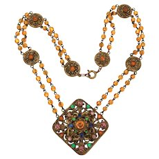 Czech Necklace with Amber Glass Beads & Multicolor Rhinestone Pendant