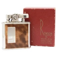 Ronson Whirlwind Lighter with Painted Tortoise Shell Finish in Original Box with Pouch, Brush, Paperwork