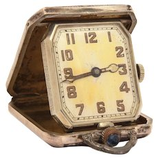 Sterling Elgin Magic Folding Clock, Pocket Watch Style, Engine Turned Engraved Case