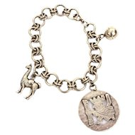 Sterling Charm Bracelet, South American Llama King and Ball
