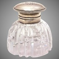 """Antique Cut Crystal Inkwell Sterling Hinged Lid by Wilcox, Desktop Size 2 7/8"""" High"""