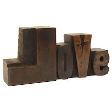 LOVE Letterpress Letters, Carved Wood Printing Press Type, Printing Blocks, Rustic valentine