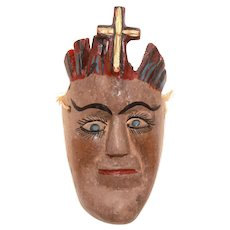 Folk Art Saint Head Mask, Painted Carved Wood Face with Crown & Cross, Small