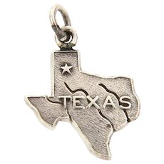 Tiny Sterling State of Texas Charm Engraved AM, Texas A&M University