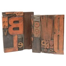 Bookends Letterpress Letters & Symbols, Wood Printing Press Type, Printing Blocks