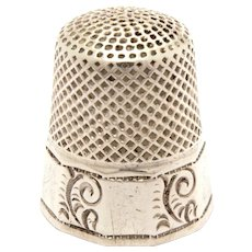 Antique Sterling Ketcham and McDougall Paneled Thimble with Paisley Scrolls, Size 9