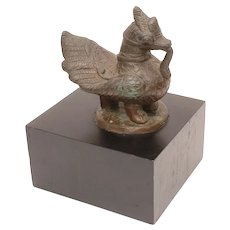 Eastern Bronze Hamsa Bird Sculpture on Black Wood Base