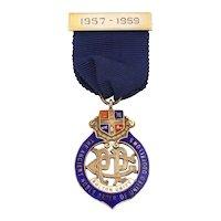 Sterling Enamel Odd Fellows Medal, 1950's IOOF Watch Fob Pendant, Bolton Friendship Lodge