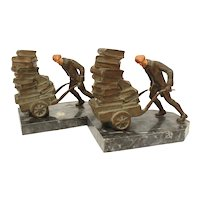 J. B. Hirsch Bookends Book Load, Spelter on Marble, Man Pushing Book Cart