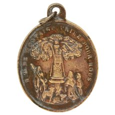 Belgian Bronze Catholic Medal Basilica of Our Lady of Scherpenheuvel, Virgin Mary of Montaigu in Oak Tree