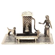 "Dutch 835 Silver Miniature Scene Girl at Well with Dog 1.25"" high"