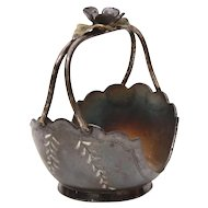 Pairpoint Silverplate Flower Basket Napkin Ring, Antique Quad Plate