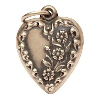 Pretty 1940's Sterling Puffy Heart Charm Forget Me Not Flowers Blooming Up the Side, Engraved Estelle