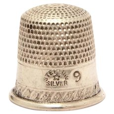 "Antique Sterling Child Size Sewing Thimble, Size 9, Only 5/8"" High, Star Hallmark"