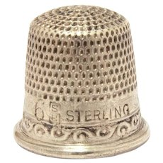 "Antique Sterling Stern Child Size 6 Thimble, only 9/16"" High"