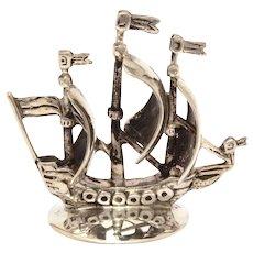 Dutch 835 Silver Miniature Triple Mast Viking Sailing Ship by Zaanlandse Zilversmederij
