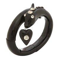 Victorian Jet & Paste Snake Bracelet Heart Charm Dangle with Black Dot Paste