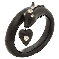 Victorian Jet & Paste Snake Bracelet Heart Charm Dangle with Black Dot Paste