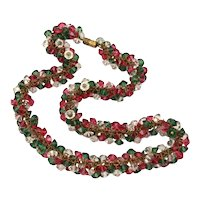 Swarovski Crystal Bead Cluster Cha-Cha Necklace in Red, Green, and Clear