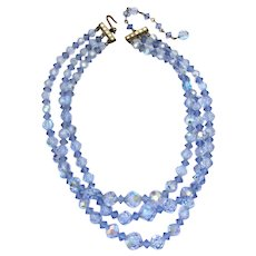3 Strands, 1950's Blue Aurora Borealis Crystal Bead Necklace