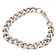 "Heavy Sterling Biker Style Curb Link Bracelet, Good Chunky Size 7.5"" long x 3/8"" wide"