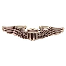 "WWII Sterling Pilot Wings 3"" Pin USAAC, LGB Balfour, United States Air Force, Army Air Corps"