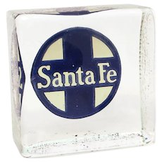 Santa Fe Railroad Single Heavy Glass Block Bookend with Incised & Painted Logo ATSF Railway