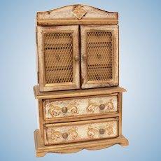 """Italian Florentine Wood Jewelry Box Mini Dresser or Hutch, Dollhouse Accessory, 14.25"""" Tall"""