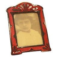 "Miniature Red Enamel Photo Frame 1.6"" Tall, Dollhouse Accessory"