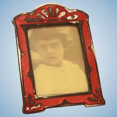 "Miniature Red Enamel Photo Frame 1.6"" Tall, Dollhouse Accessory"