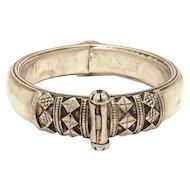 800 Silver Berber Bracelet, Tribal Hinged Bangle, Ethnic Bedouin