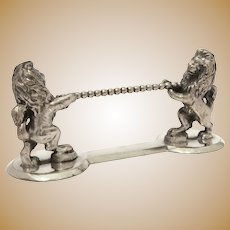 Antique Silverplate Figural Knife Rest with Royal Lions