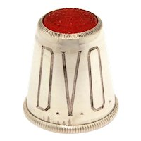 Sterling Red Glass Top Thimble, Engraved Monogram DVO